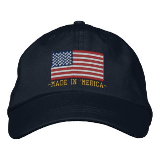 'MERICA USA Stars 'n Stripes FLAG Embroidery Embroidered Hat