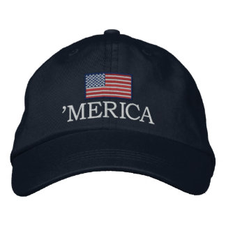 Merica - with USA flag Embroidered Hat