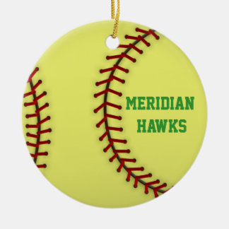 Meridian Hawks Softball Ceramic Ornament