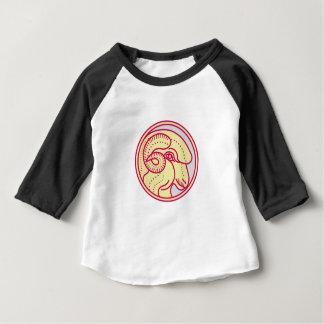 Merino Ram Sheep Head Circle Mono Line Baby T-Shirt