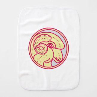 Merino Ram Sheep Head Circle Mono Line Burp Cloth