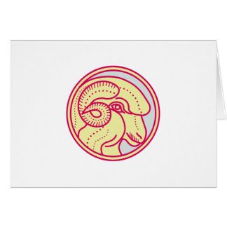 Merino Ram Sheep Head Circle Mono Line Card