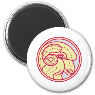 Merino Ram Sheep Head Circle Mono Line Magnet