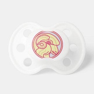 Merino Ram Sheep Head Circle Mono Line Pacifier