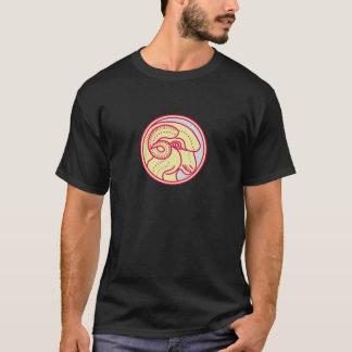 Merino Ram Sheep Head Circle Mono Line T-Shirt