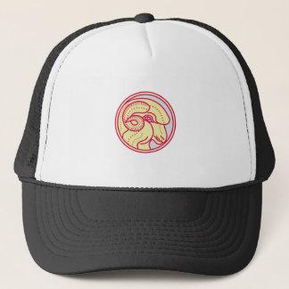 Merino Ram Sheep Head Circle Mono Line Trucker Hat