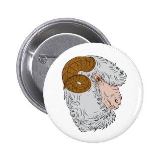 Merino Ram Sheep Head Drawing 2 Inch Round Button