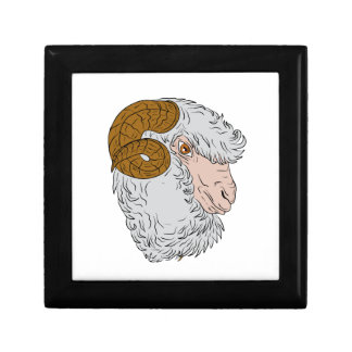 Merino Ram Sheep Head Drawing Gift Box