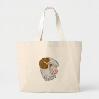 Merino Ram Sheep Head Drawing Large Tote Bag