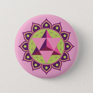 Merkaba on Flower of Life 2 Inch Round Button