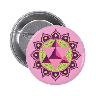 Merkaba on Flower of Life 2 Inch Round Button