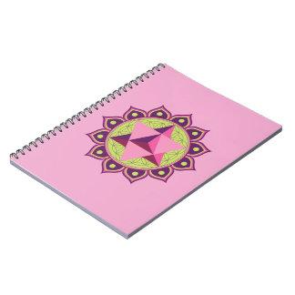 Merkaba on Flower of Life Spiral Notebook