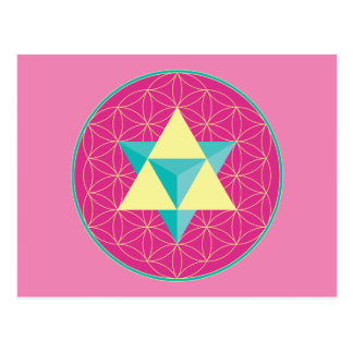 Merkaba with Flower of life Postcard