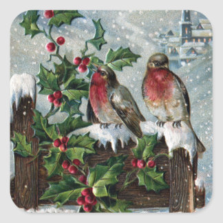 Merles anglais sur Noël d'antiquité de barrière Sticker Carré