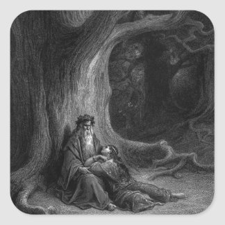 Merlin and Vivien by Gustave Doré 1868 Square Sticker