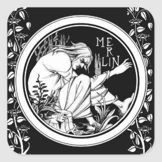 Merlin Art Nouveau fantasy Square Sticker
