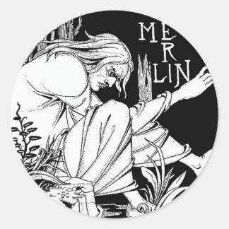 """""""Merlin"""" by Aubrey Beardsley, 1893 Round Sticker"""