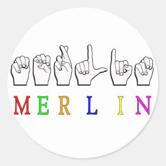 MERLIN FINGERSPELLED ASL NAME SIGN CLASSIC ROUND STICKER
