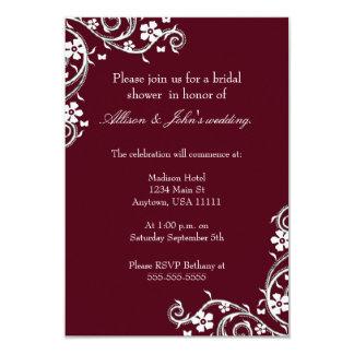 Merlot Floral Swirls Bridal Shower Invitation
