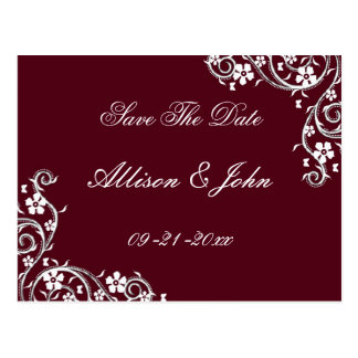 Merlot Floral Swirls Save The Date Postcard
