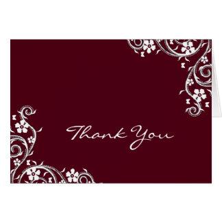 Merlot Floral Swirls Thank You Card