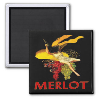 Merlot Maid With Grapes Square Magnet