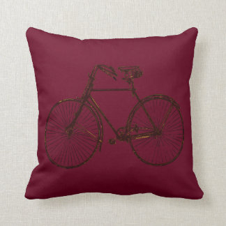 Merlot red black gold bicycle Throw pillow