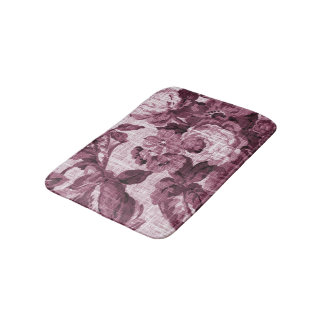 Merlot Red Vintage Floral Toile No.4 Bath Mat