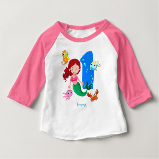 Mermaid 1st Birthday Custom Baby T-Shirt
