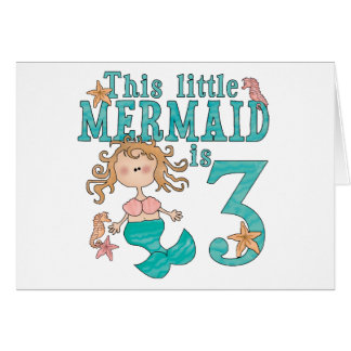 Mermaid 3rd Birthday Invitations