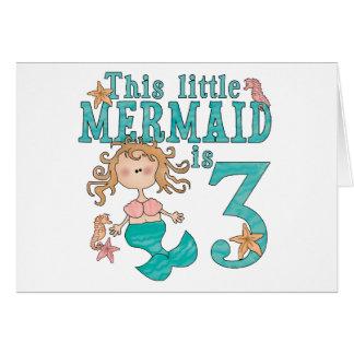 Mermaid 3rd Birthday Invitations Note Card