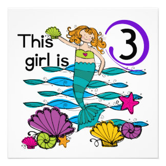 Mermaid 3rd Birthday T shirts and Gifts Announcement