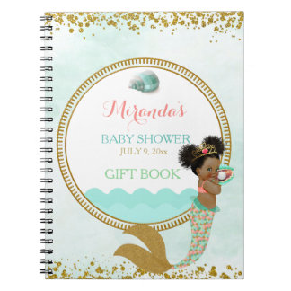 Mermaid African American Girl Peach Mint Gold Spiral Notebooks