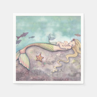 Mermaid and Baby Baby Shower Napkins Disposable Napkin