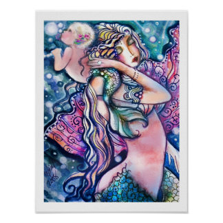 Mermaid and Baby, Colorful Poster