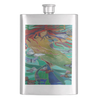 Mermaid and Butterflies Hip Flask