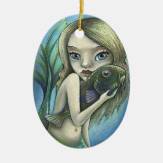 Mermaid and catfish ceramic ornament