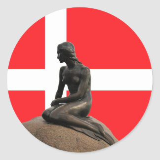 Mermaid and Denmark Flag Classic Round Sticker