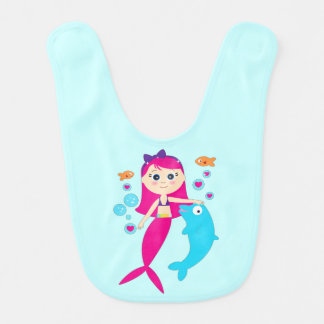 Mermaid and Dolphin: Friends under the Sea Bibs
