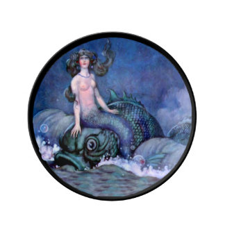 Mermaid and Dolphin Porcelain Plate