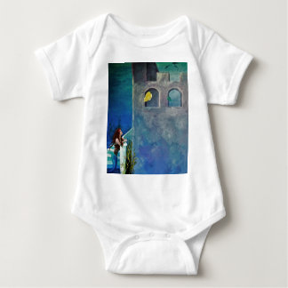 Mermaid and Fish at Undersea Castle Baby Bodysuit