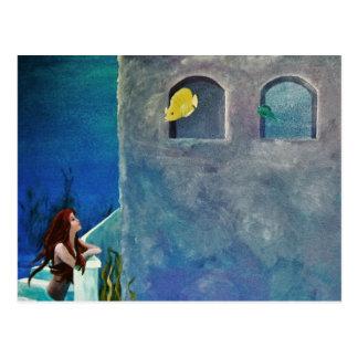 Mermaid and Fish at Undersea Castle Postcard