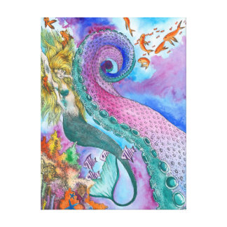 Mermaid and Kraken Wrapped Canvas