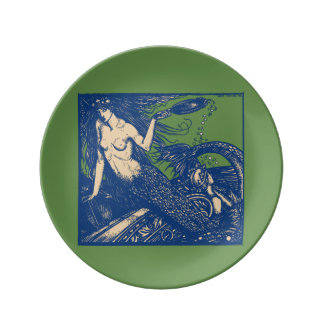 Mermaid and Mirror Porcelain Plate