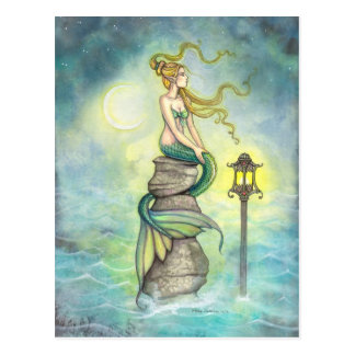 Mermaid and Moon Fantasy Art by Molly Harrison Postcard