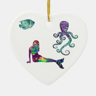 Mermaid and Octopus, beach, ocean, mermaids Ceramic Ornament