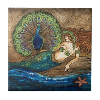 Mermaid and Peacock Tile
