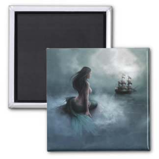 Mermaid and Pirate Ship Square Magnet