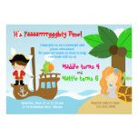 Mermaid and Pirate Twins Joint Birthday Party Invite