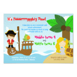 Mermaid and Pirate Twins Joint Birthday Party Custom Invite